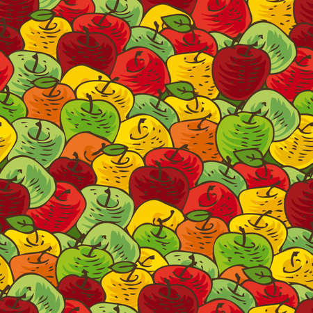 agriculture wallpaper: Seamless Vector Pattern with Red, Yellow, Orange and Green Ripe Apples Illustration