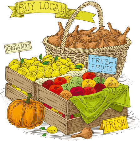 fruit basket: Fruits and Vegetables for Sale. Bulb Onion, Apples, Lemons and Pumpkin