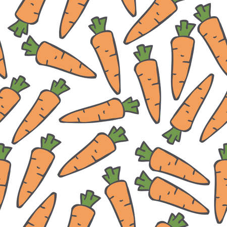 agriculture wallpaper: Seamless Vector Pattern with Ripe Carrots on a White Background