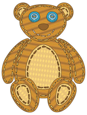 Teddy Bear in Patchwork Style. Isolated on a White Background