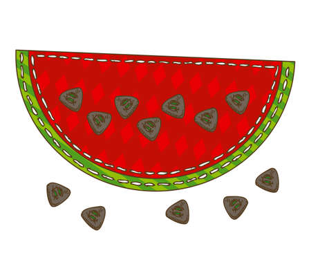 Watermelon in Patchwork Style. Isolated on a White Background