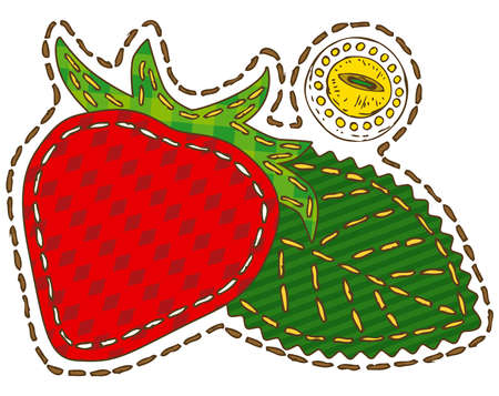 Strawberry in Patchwork Style. Isolated on a White Background