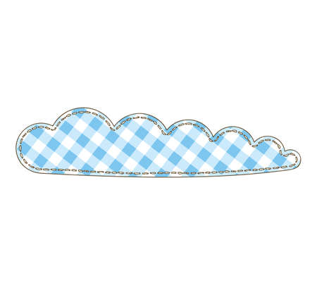 Cloud in Patchwork Style. Isolated on a White Background