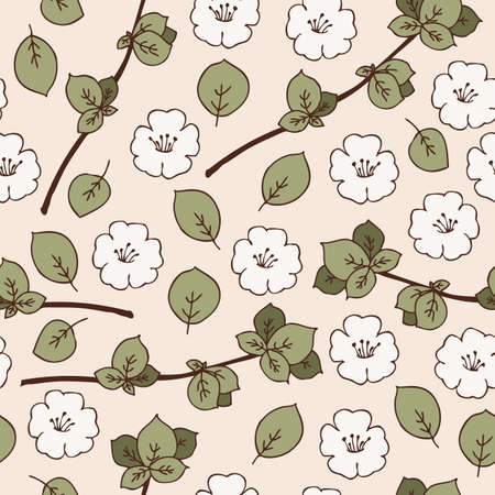 agriculture wallpaper: Seamless Pattern with Apple Flowers, Branches and Leaves on a Beige Background