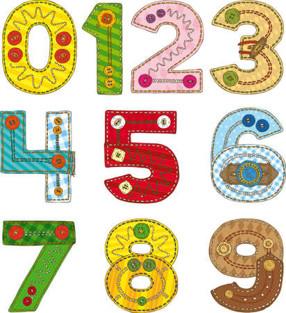 Collection of Patchwork Numbers Isolated on a White Background