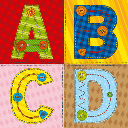 Letters A,B,C,D in PatchworkStule on a Fabric Background
