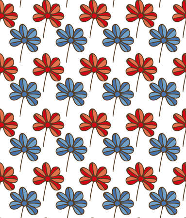 Seamless Pattern with Blue and Red Flowers on a White Background