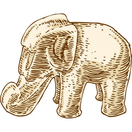 tusks: Retro Beige Elephant Figurine Isolated Over White