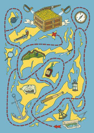 isla del tesoro: Treasure Island Maze Game with Pirate Supplies. Vector illustration