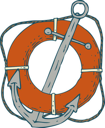 moor: Steel Ship Anchor and Red Lifebuoy. Isolated On A White Background Illustration