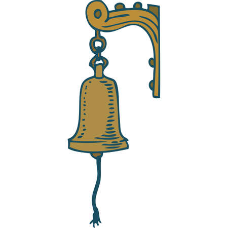 Vintage Copper Ship Bell. Isolated on a White