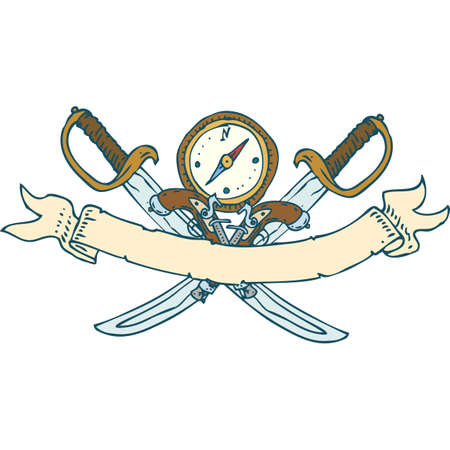 decrepit: Retro Heraldic Ribbon with Sabers and Compass. Isolated on a White Background Illustration