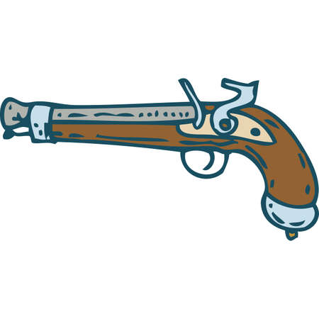Vintage Flintlock Pistol or Musket. Isolated on a White Illustration