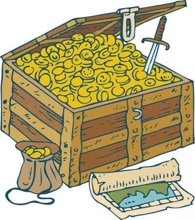 Borst met gouden munten, lederen tas, schatkaart en Saber Vector Illustratie