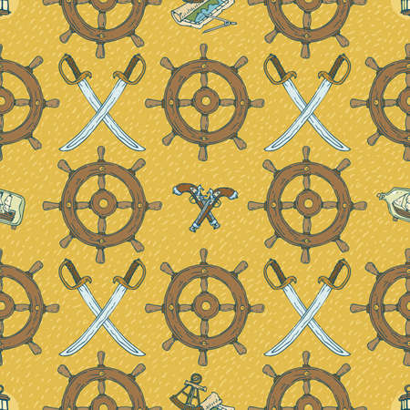 flintlock pistol: Pirate Seamless Vector Pattern with Sabers and Muskets on a Yellow Background Illustration