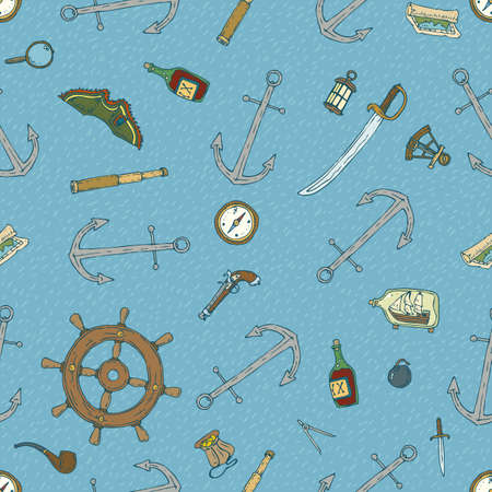 marine ship: Seamless Vector Pattern with Nautical Instruments and Accessories on a Blue Background