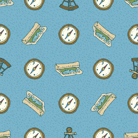filibuster: Seamless Vector Pattern with Maps and Compasses on a Blue Background Illustration