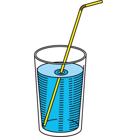 Vetro di acqua con una cannuccia. Isolato su un bianco