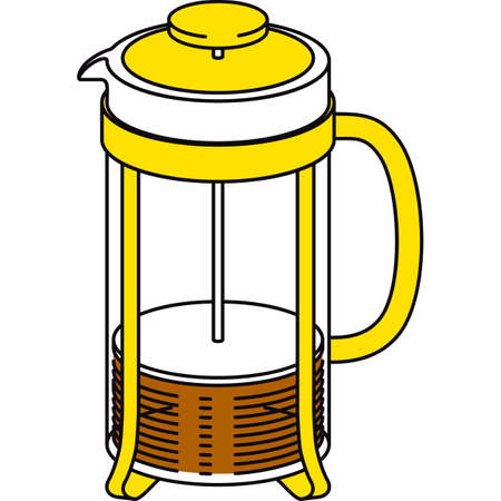 Glass French Press Pot with Coffee or Tea. Isolated on a White Illustration