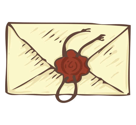 wax stamp: Closed Vintage Envelope with Brown Wax Stamp. Isolated on a White Illustration