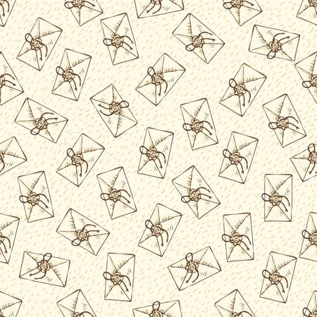 tileable: Seamless Vector Pattern with Envelopes on a Beige Background