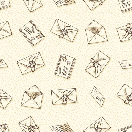 Postal Service. Seamless Vector Pattern with Envelopes and Letters on a Beige Background