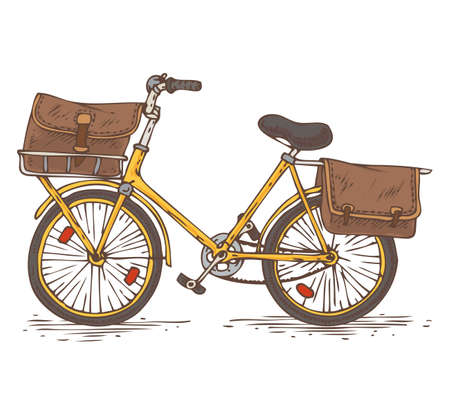 postal service: Postal Service. Mail Delivery. Yellow Bicycle with Brown Bags as a Baggage Illustration