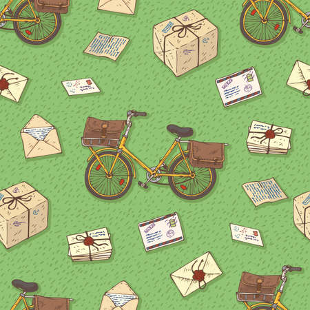 postal service: Postal Service. Mail Delivery. Seamless Pattern with Bicycles, Envelopes, Parcels and Letterson on a Green Background Illustration