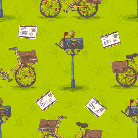 postal service: Postal Service. Mail Delivery. Seamless Pattern with Bicycles, Envelopes, Retro Mailboxes and Letters on a Green Background