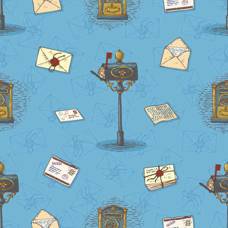 sealing wax: Postal Service. Seamless Vector Pattern with Envelopes,Letters and Retro Mailboxes on a Blue Background