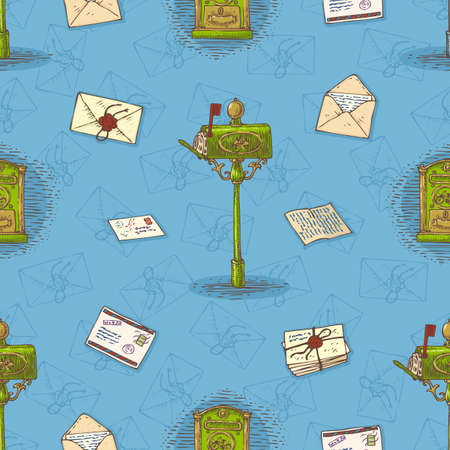 mailboxes: Postal Service. Seamless Vector Pattern with Envelopes,Letters and Retro Mailboxes on a Blue Background