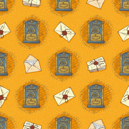 mailboxes: Postal Service. Seamless Vector Pattern with Envelopes,Letters and Retro Mailboxes on a Orange Background