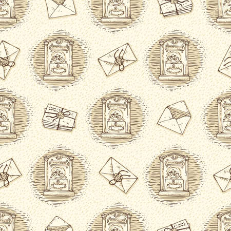 postal service: Postal Service. Mail Delivery. Seamless Vector Pattern with Envelopes,Letters and Retro Mailboxes on a Beige Background