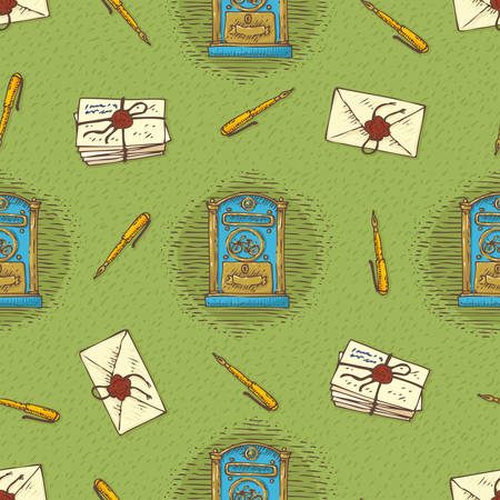 postal service: Postal Service. Seamless Vector Pattern with Envelopes, Letters, Retro Mailboxes and Ink Pens on a Green Background