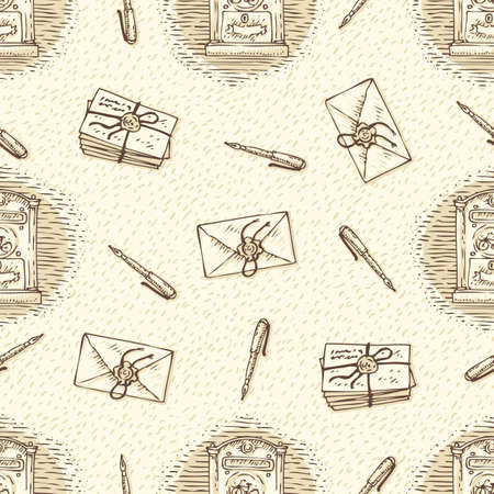 mailboxes: Postal Service. Seamless Vector Pattern with Envelopes, Letters, Retro Mailboxes and Ink Pens on a Beige Background