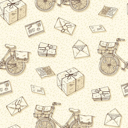 postal service: Postal Service. Mail Delivery. Seamless Pattern with Bicycles, Envelopes, Parcels and Letters on a Beige Background Illustration