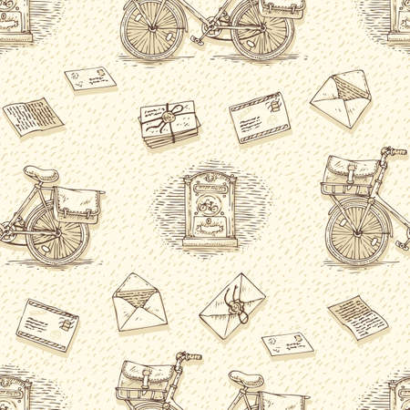 postal service: Postal Service. Mail Delivery. Seamless Pattern with Bicycles, Envelopes, Retro Mailboxes and Letters on a Beige Background