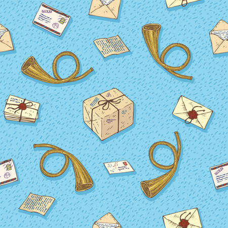postal service: Postal Service. Mail Delivery. Seamless Vector Pattern with Beige Envelopes, Post Horns and Parcels on a Blue Background
