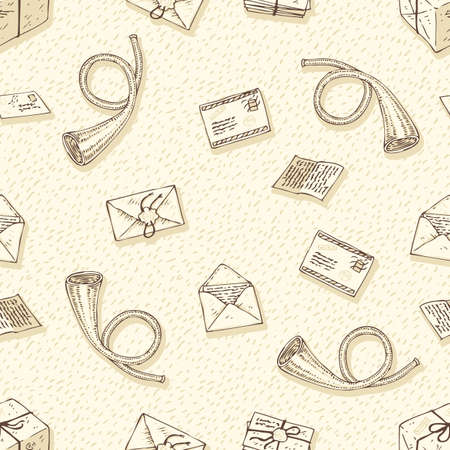 postal service: Postal Service. Seamless Vector Pattern with Envelopes, Letters and French Post Horns on a Beige Background