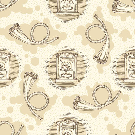 metal mailbox: Postal Service. Seamless Vector Pattern with Retro Mailboxes and French Post Horns on a Beige Background