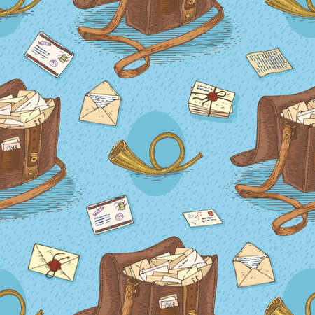 postal service: Postal Service. Mail Delivery. Seamless Vector Pattern with Envelopes, Post Horns and Brown Mail Bags on a Blue Background Illustration