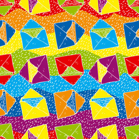 postal service: Postal Service. Seamless Vector Pattern with Color Envelopes on a Rainbow Background Illustration