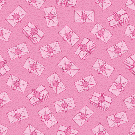 sealing: Seamless Vector Pattern. Pink Envelopes with Love Letters