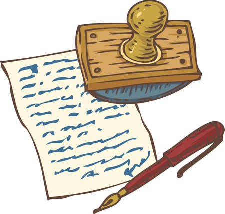 Writing Utensils. Page with Handwritten Page and Red Ink Pen and Wooden Ink Blotter. Isolated on a White