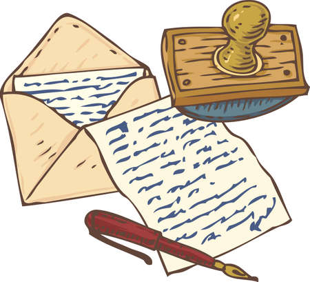 writing instruments: Writing Utensils. Open Envelope with Letter, Handwritten Page, Red Ink Pen and Wooden Ink Blotter. Isolated on a White