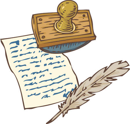 blotter: Handwritten Page, Quill Pen and Ink Blotter. Isolated on a White