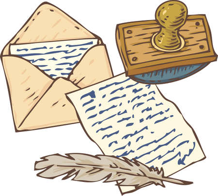 writing utensil: Open Envelope with Letter, Handwritten Page, Quill Pen and Ink Blotter. Isolated on a White