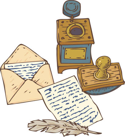 inkstand: Open Envelope with Letter, Handwritten Page, Quill Pen, Inkstand and Ink Blotter. Isolated on a White Illustration