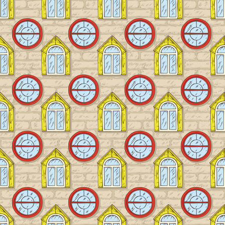 fortified: Seamless Vector Pattern. Beige Brick Wall with Red and Yellow Windows. Hand Drawn Illustration