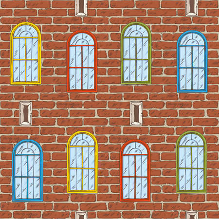 Seamless Vector Pattern. Brick Wall with Different Color Windows. Hand Drawn Illustration Illustration